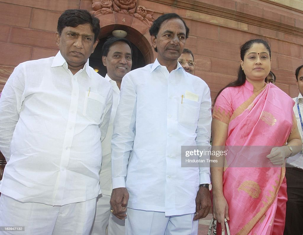 Telangana Rashtra Samithi chief K Chandrasekhara Rao TRS MP and Telugu actress Vijayashanthi with others leaders leave at parliament house attending the ongoing parliament budget session on March 18, 2013 in New Delhi, India. Samajwadi Party members today disrupted both houses of parliament demanding the sacking of Steel Minister Beni Prasad Verma over his alleged comments that their party chief Mulayam Singh Yadav had terrorist links.