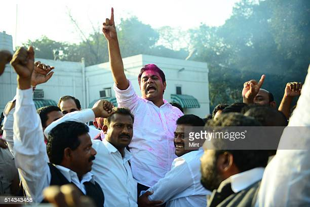 Telangana supporters celebrating after Telangana Bill pass in Lok Sabha on February 18 2014 in New Delhi India