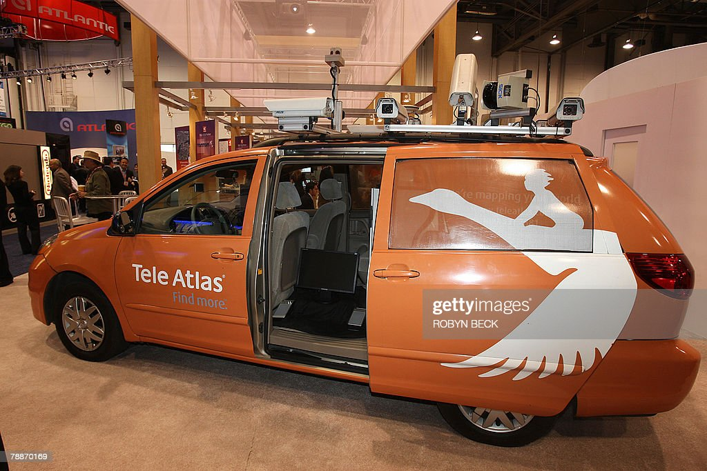 A Tele Atlas mapping automobile is on display at the 2008 Consumer Electronics Show (CES) in Las Vegas, Nevada, 09 January 2008. The car is equipped with eight regular cameras, one fisheye lens camera, two lasers, GPS satellite and other equipment which photographs roads, streets and signage and also measures road angles and slopes. Tele Atlas is a Netherlands-based company which delivers digital maps and other dynamic content for navigation, including personal and in-car navigation systems.