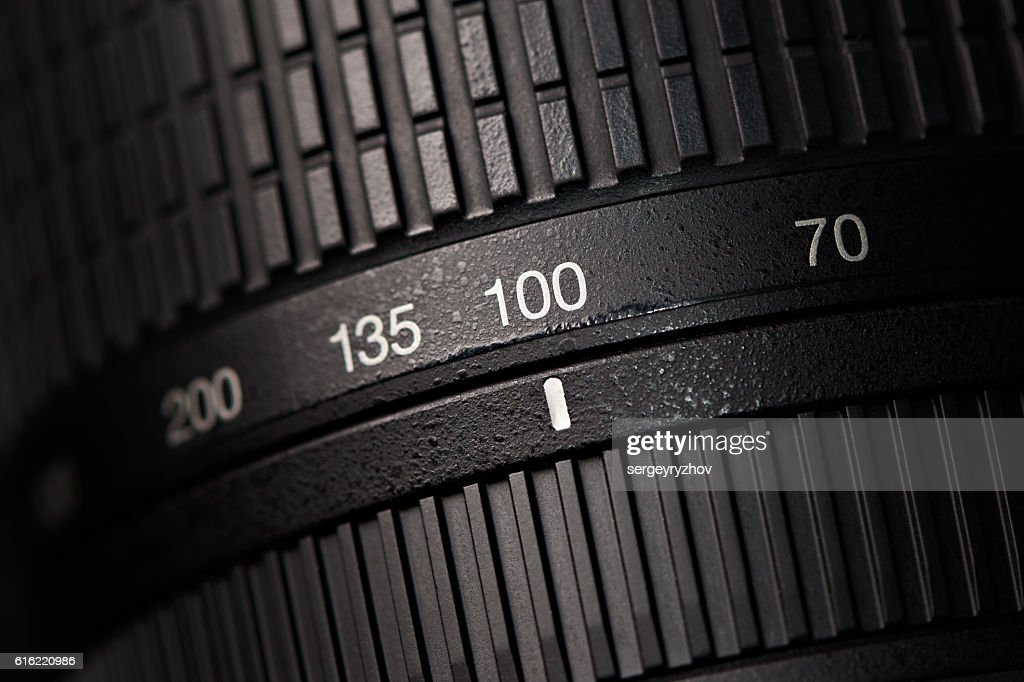 Tele zoom camera lens closeup : Foto stock