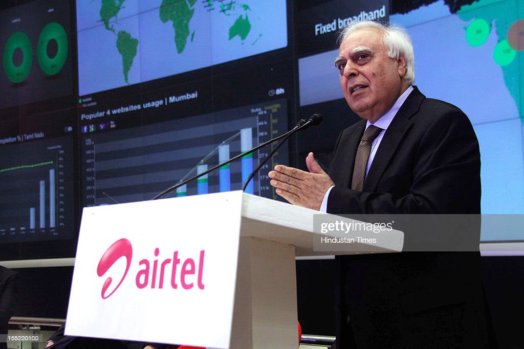 Telecom Minister <a gi-track='captionPersonalityLinkClicked' href=/galleries/search?phrase=Kapil+Sibal&family=editorial&specificpeople=791656 ng-click='$event.stopPropagation()'>Kapil Sibal</a> address during launch of network experience centre (NEC) at Manesar on on October 31, 2012 in Gurgaon, India. Network Experience Centre (NEC) will monitor its various services like mobile, fixed line and DSL broadband, DTH, M-commerce, enterprise, international cable systems and internet peering points across India and South Asia from a single location.