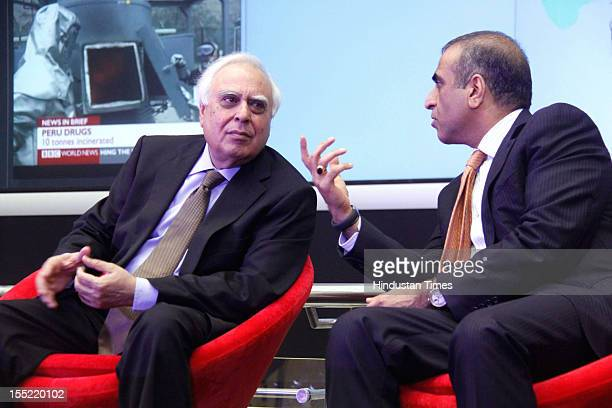 Telecom Minister Kapil Sibal and Bharti Airtel Chairman Sunil Bharti Mittal during during launch of network experience centre at Manesar on on...