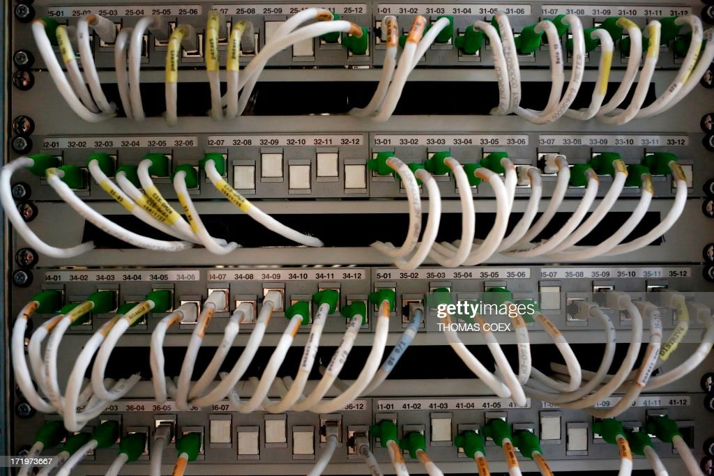Telecom network cables are pictured in Paris, on June 30, 2013. The European Union angrily demanded answers from the United States over allegations Washington had bugged its offices, the latest spying claim attributed to fugitive leaker Edward Snowden. German weekly Der Spiegel said its report, which detailed covert surveillance by the US National Security Agency (NSA) on EU diplomatic missions, was based on confidential documents, some of which it had been able to consult via Snowden.