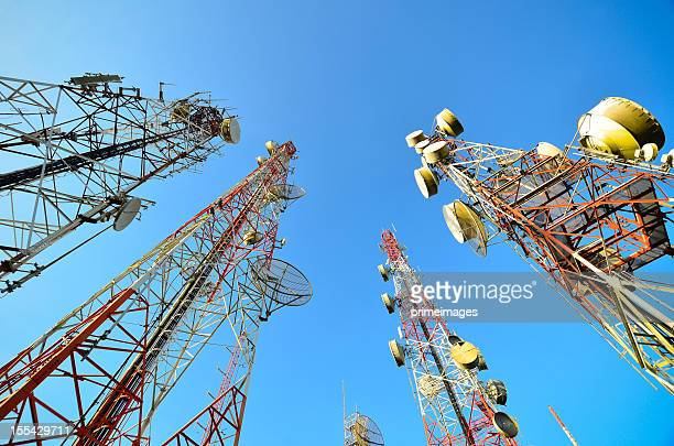 Telecommunication and broadcasting towers with blue sky