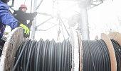 Spool of internet data cable fiber.