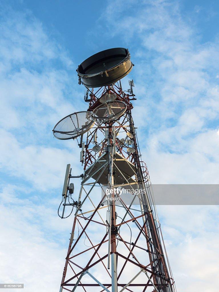 Telecommunication mast TV antennas wireless technology : Stock Photo