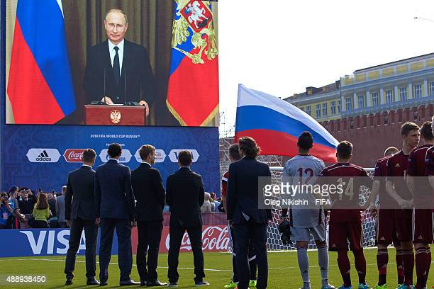 Teleconference with President of Russia Vladimir Putin during Opening Ceremony of the U16 Young Tournament during FIFA '1000 Days to Go' Russia 2018...