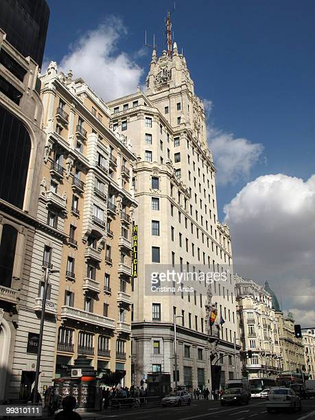 Telefónica Building (1926-1929) in the second stage of Gran Via Street, Madrid.
