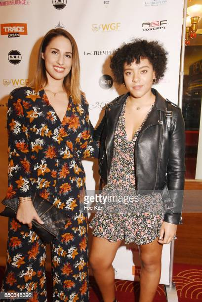 Telefoot presenter Charlotte Namura and daughter in law Maeva pose at the Photocall of ' Les Tremplins Act1 Live ' Auction Show at Rex Club on...