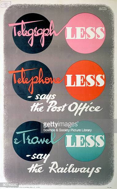 Telegraph Less Telephone Less says the Post Office Travel Less say the Railways' poster WWII Poster produced by the railway companies to advocate...