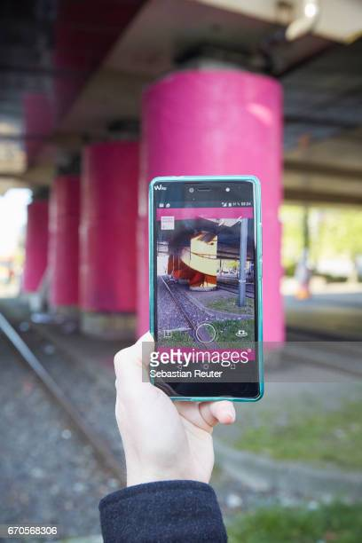 Telekom Electronic Beats create magenta 'portals' across Europe to release Gorillaz with The Lenz app on April 20 2017 in Berlin Germany