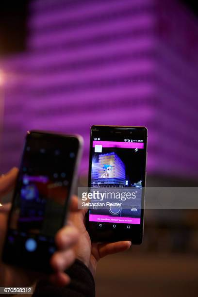 Telekom Electronic Beats create magenta 'portals' across Europe to release Gorillaz with The Lenz app on April 19 2017 in Berlin Germany