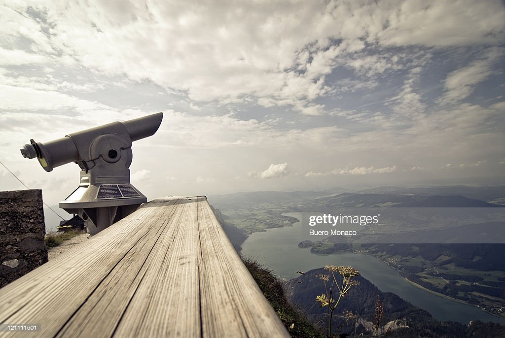 telelescope,schafberg mountain over mondsee lake