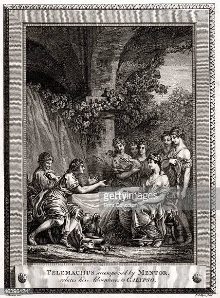 'Telemachus accompanied by Mentor relates his Adventures to Calypso' 1774 A plate from The CopperPlate Magazine or A Monthly Treasure London 1774