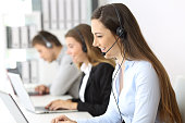 Telemarketer working at office