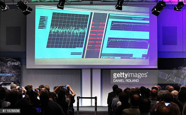 A telemetry data display is seen in the main control room of the European Space Operation Center in Darmstadt on September 30 2016 after the...