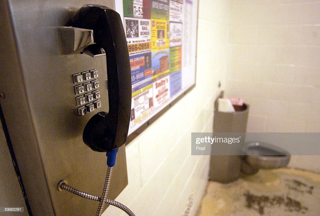 A telephone and a toilet are shown in the holding cell area where arrestees are allowed their phone call at the Santa Barbara County Sheriff Substation May 10, 2005 in Orcutt, California. If convicted, Michael Jackson could be held in this facility.