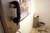 A telephone and a toilet are shown in the holding cell area where arrestees are allowed their phone call at the Santa Barbara County Sheriff...