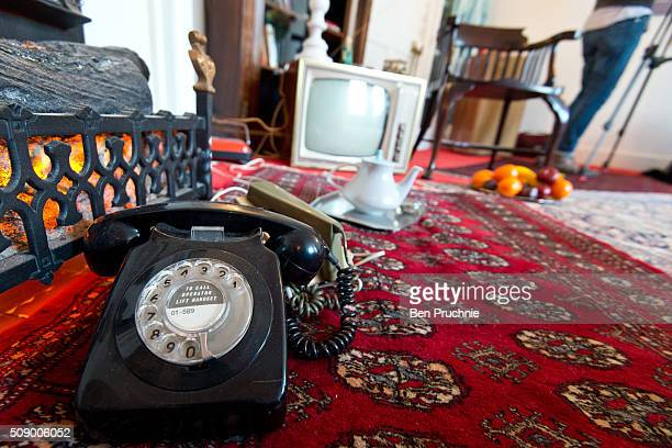 A telephone is displayed in a recreation of Jimi Hendrix's bedroom as it is displayed as part of the Handel and Hendrix exhibition on February 8 2016...