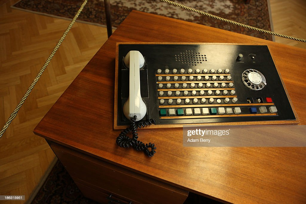 A telephone is displayed in the offices of Erich Mielke, the last Stasi minister, at the Stasi(Staatssicherheit), or East German Secret Police Museum, on October 30, 2013 in Berlin, Germany. German officials have maintained that they had strong evidence indicating that the American Nation Security Agency (NSA) has eavesdropped on Chancellor Angela Merkel's mobile phone, surveillance that the U.S. has since claimed is essential to its security operations and is standard procedure. The charge has caused a furor among political leaders across Europe, but is particularly troublesome to those who, like Merkel, grew up in the former East Germany and have recent memories of being spied upon by their own government. In response to anger over the matter from Germany, Mexico, France, Spain and Brazil ,the U.S. Senate Intelligence committee is currently conducting a major review of such surveillance operations, while the NSA insists that any such data collected on ordinary citizens turned over to the agency had been conducted by the local allied governments themselves.