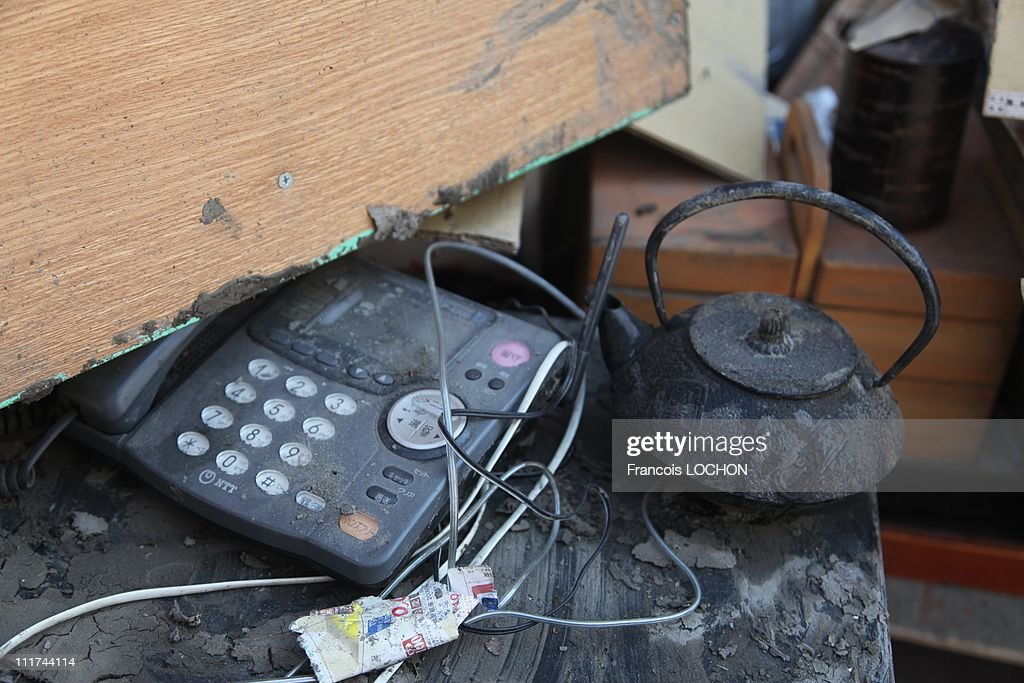 A telephone left in the rubble destroyed by the earthquake on April 4,2011, in Yamda,Japan. These objects are from the 30 000 victims of the earthquake that hit Japan on March 11, 2011 followed by an tsunami.