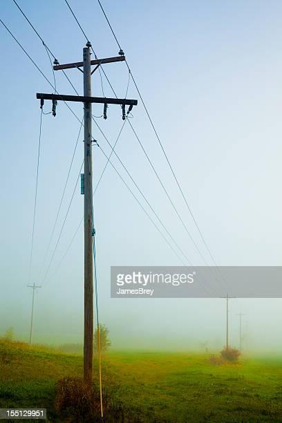 Telephone Lines Split Over Misty Landscape