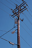 Telephone pole, low angle view, close-up