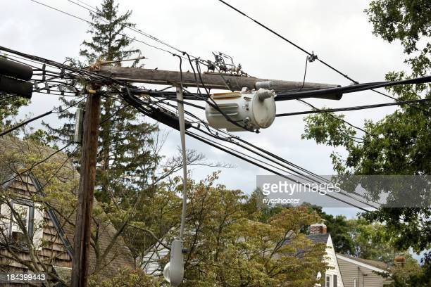 Telephone pole snapped in half from storm