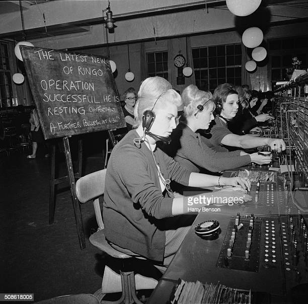 Telephonists at a Covent Garden telephone exchange answer calls from fans of Ringo Starr who are calling to inquire about his recent tonsil operation...