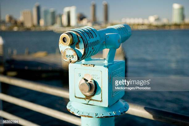 Telescope at a lookout point, San Diego Bay, Coronado Island, San Diego, California, USA