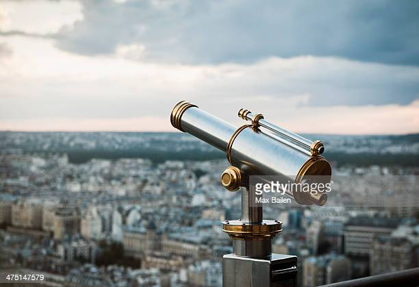 Telescope at top of Eiffel Tower, Paris, France