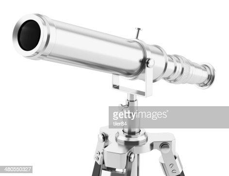 Telescópio no tripé isolado em fundo branco : Foto de stock