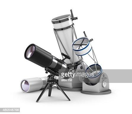 Telescope set on white background : Stock Photo