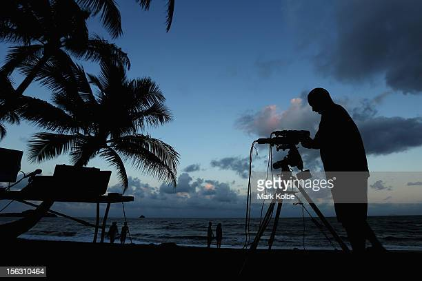 Telescopic cameras and computer equipment are set up on Palm Cove beach in preparation to run a live stream via NASA of the total solar eclipse on...