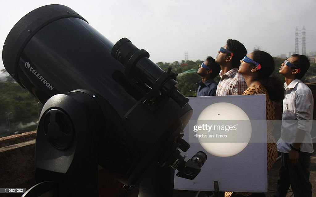 Telescopic view of planet Venus transit across the sun at Science City on June 6, 2012 in Kolkata, India. This is last Venus transit of the century as next such transit will happen after 105.5 years in 2117.