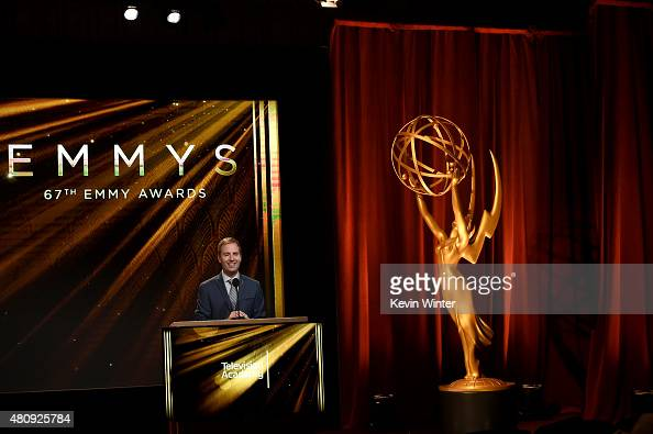 Television Academy President and COO Maury McIntyre speaks at the 67th Primetime Emmy Awards nominations at SilverScreen Theater at the Pacific...