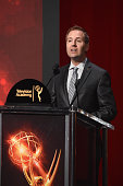 Television Academy President and COO Maury McIntyre speaks before the 68th Emmy Awards nominations announcement at the Saban Media Center on July 14...