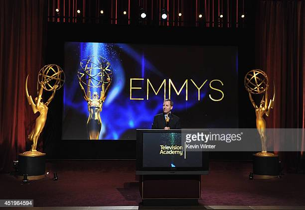 Television Academy President and COO Maury McIntyre speaks onstage at the 66th Primetime Emmy Awards Nominations at Leonard H Goldenson Theatre on...