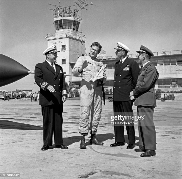 CBS television actor James Arness was invited by US Air Force Recruiting to take a ride in a F102A ConsolidatedVultee fighter jet He is photographed...