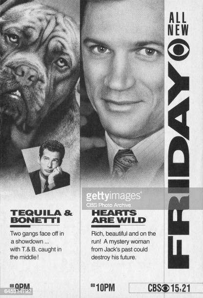 Television advertisement as appeared in the February 22 1992 issue of TV Guide magazine An ad for the Friday primetime programs Tequila and Bonetti...
