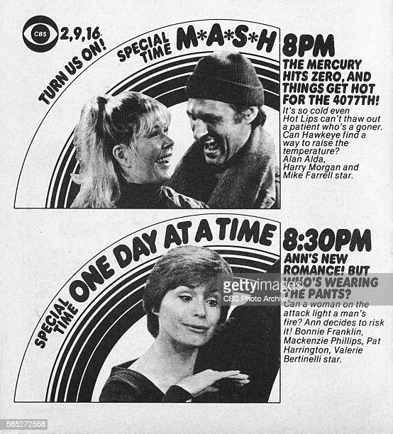 Television advertisement as appeared in the November 11 1978 issue of TV Guide magazine An ad for the comedy programs M*A*S*H and One Day at a Time...