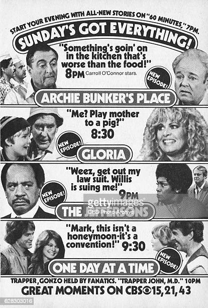 Television advertisement as appeared in the October 9 1982 issue of TV Guide magazine An ad for the Sunday primetime comedies lineup Archie Bunkers...