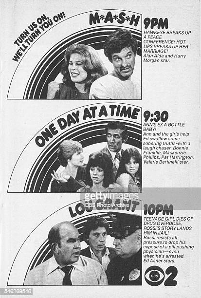 Television advertisement as appeared in the September 23 1978 issue of TV Guide magazine An ad for the programs MASH One Day at a Time and Lou Grant...
