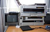 Television and audio equipment in studio