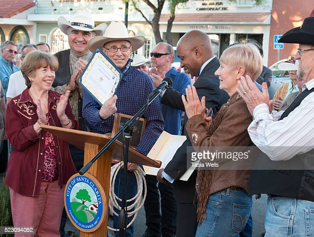 Television and film legend Johnny Crawford receives certificate at his star unveiling ceremony at The Walk of Western Stars on April 21 2016 in...