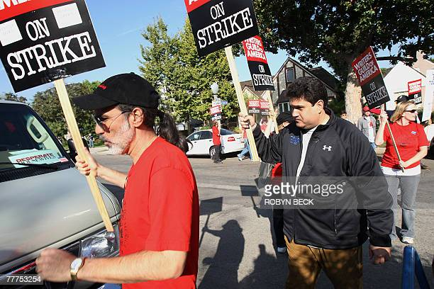 Television and movie writers strike outside the location set of the television show 'Desperate Housewives' 06 November 2007 in Toluca Lake California...