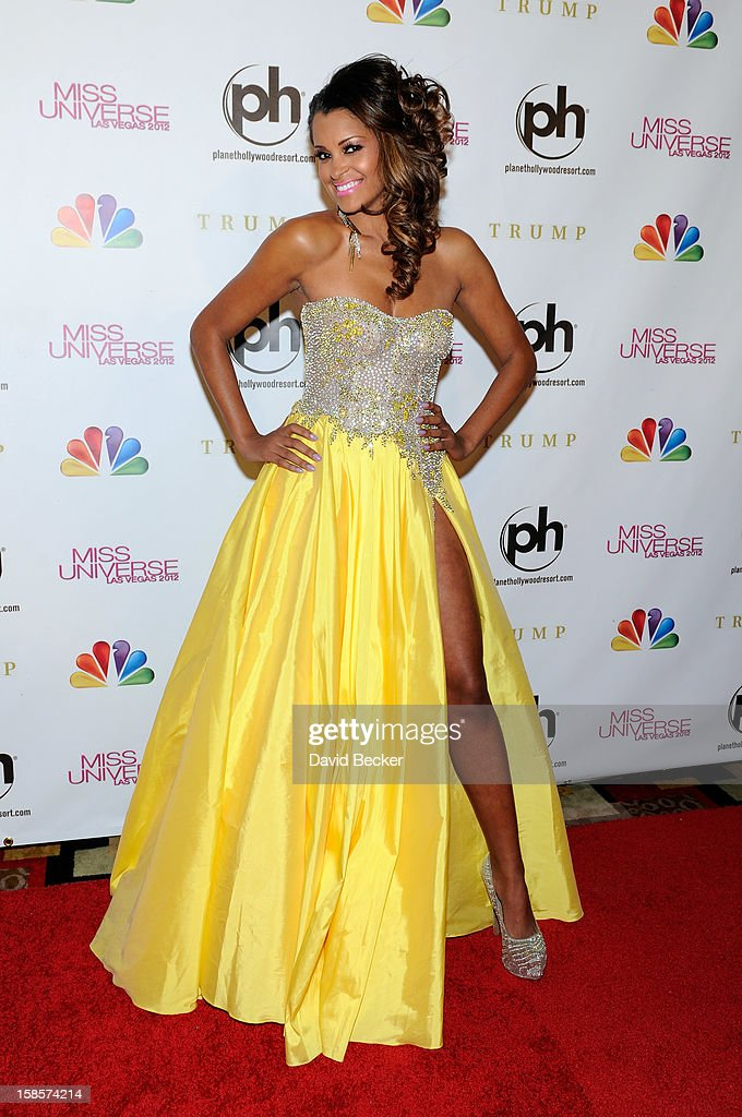 Television and radio personality and pageant judge Claudia Jordan arrives at the 2012 Miss Universe Pageant at Planet Hollywood Resort & Casino on December 19, 2012 in Las Vegas, Nevada.