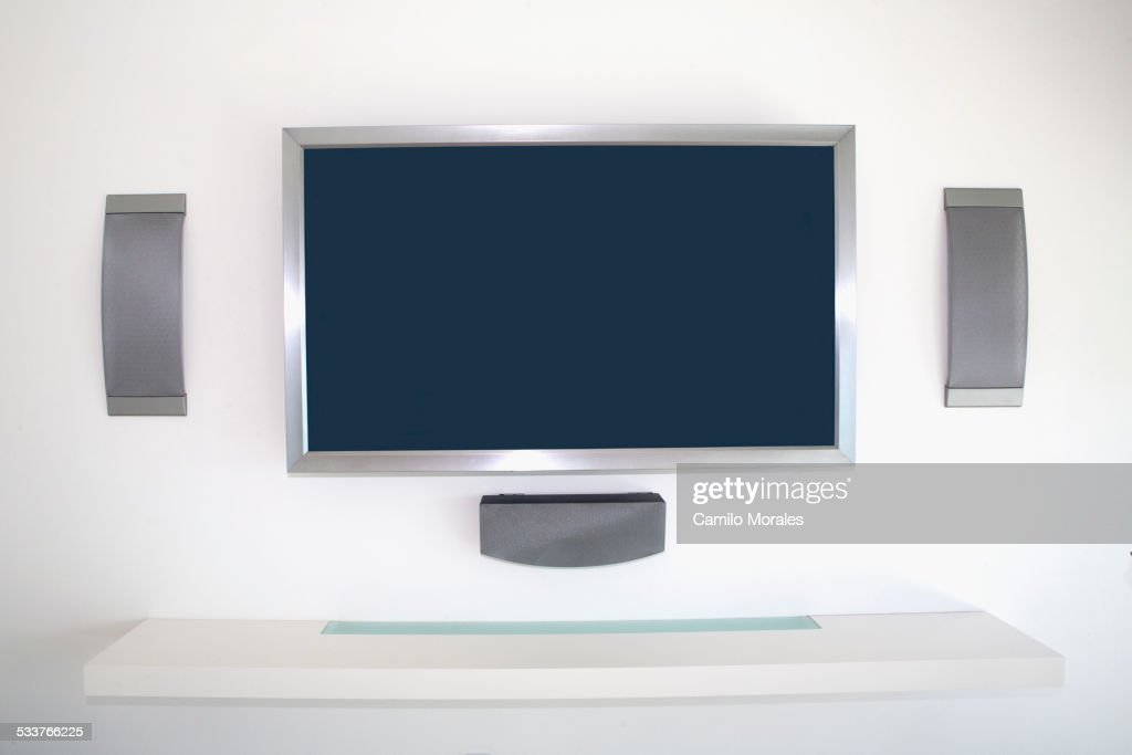 Television And Speakers In Modern Living Room Stock Photo Getty Images