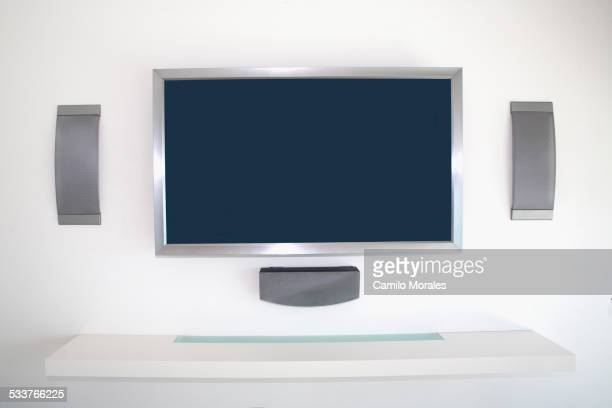 Television and speakers in modern living room
