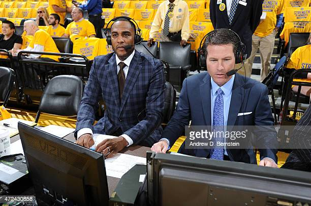 Television announcers Steve Smtih and Bob Rathbun before a game between the Memphis Grizzlies and Golden State Warriors at ORACLE Arena on May 05...